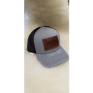 GREY CAP WITH LEATHER PATCH