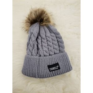 KID KNITTED TUQUE WITH POMPOM